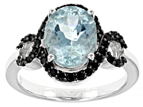 Pre-Owned Blue Aquamarine Rhodium Over Sterling Silver Ring 3.50ctw