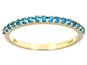 Pre-Owned Blue Neon Apatite 14k Yellow Gold Band Ring 0.22ctw