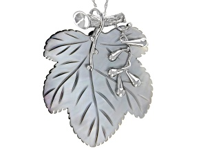 Pre-Owned Tahitian Mother-of-Pearl Rhodium Over Sterling Silver Leaf Pendant With Chain
