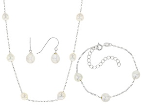 Pre-Owned White Cultured Freshwater Pearl Rhodium Over Silver Necklace, Bracelet, & Earring Set