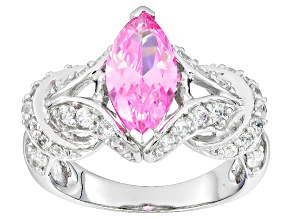 Pre-Owned Pink And White Cubic Zirconia Rhodium Over Sterling Silver Ring 2.43ctw