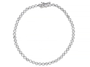 Pre-Owned White Cubic Zirconia Rhodium Over Sterling Silver Tennis Bracelet 6.04ctw