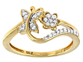 Pre-Owned White Diamond 14k Yellow Gold Over Sterling Silver Cluster Butterfly Ring 0.15ctw