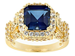 Pre-Owned Blue Lab Created Sapphire 18k Yellow Gold Over Sterling Silver Ring 3.74ctw