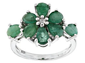 Pre-Owned Emerald Rhodium Over Sterling Silver Ring. 3.30ctw