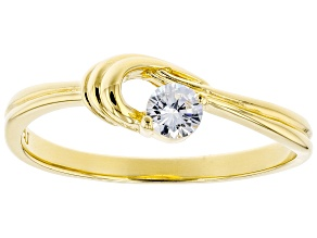 Pre-Owned White Cubic Zirconia 18K Yellow Gold Over Sterling Silver Promise Ring 0.31ctw