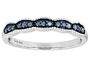 Pre-Owned Blue Diamond Rhodium Over Sterling Silver Band Ring 0.15ctw
