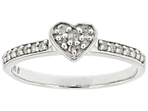 Pre-Owned White Diamond Rhodium Over Sterling Silver Heart Band Ring 0.20ctw