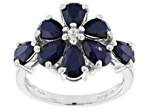 Pre-Owned Blue Sapphire Rhodium Over Sterling Silver Ring. 3.70ctw