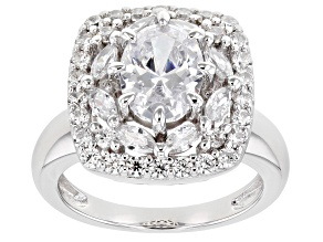 Pre-Owned White Cubic Zirconia Rhodium Over Sterling Silver Ring 5.46ctw