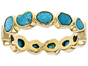Pre-Owned Turquoise 18k Yellow Gold Over Silver Eternity Band Ring
