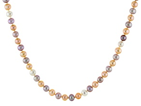 Pre-Owned Multi-Color Cultured Freshwater Pearl Rhodium Over Sterling Silver 18 Inch Strand Necklace