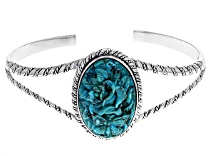 Pre-Owned  Turquoise Rhodium Over Silver Cuff Bracelet
