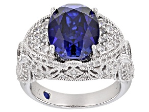 Pre-Owned Blue Lab Created Sapphire And White Cubic Zirconia Platineve Ring 5.41ctw