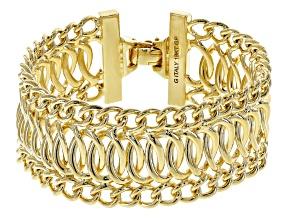 Pre-Owned Womens Fancy Curb Link Bracelet 18k Yellow Gold Over Bronze 7.5 inch