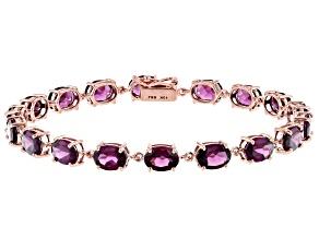 Pre-Owned Grape Color Garnet 10k Rose Gold Bracelet 14.15ctw