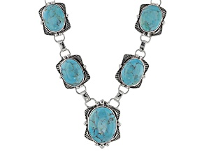 Pre-Owned Blue Kingman Turquoise Sterling Silver Necklace