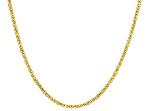 Pre-Owned 14k Yellow Gold with a Sterling Silver Core Square Wheat 20 inch Chain Necklace