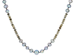 Pre-Owned 7.5-11mm Silver Cultured Freshwater Pearl & Labradorite Rhodium Over Silver 50 inch Neckla