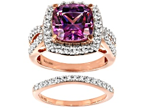 Pre-Owned Fancy Purple and White Cubic Zirconia 18k Rose Gold Over Silver Ring With Band 1