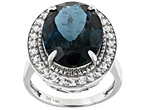 Pre-Owned London Blue Topaz Rhodium Over 14k White Gold Ring 11.29ctw