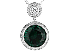 Pre-Owned Green and White Cubic Zirconia Rhodium Over Sterling Silver Pendant With Chain 9.45ctw
