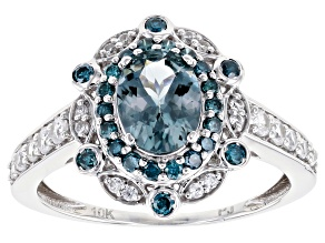 Pre-Owned Gray Platinum Color Spinel Rhodium Over 10k White Gold Ring 2.27ctw