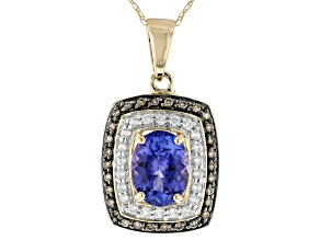 Pre-Owned Blue Tanzanite 10k Yellow Gold Pendant With Chain 1.80ctw