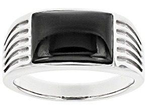 Pre-Owned Black Spinel Rhodium Over 10k White Gold Mens Ring 3.34ct