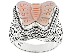Pre-Owned Carved Pink Conch Shell Sterling Silver Butterfly Ring