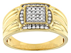 Pre-Owned White Diamond 14k Yellow Gold Over Sterling Silver Men's Cluster Wide Band Ring 0.25ctw