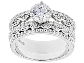 Pre-Owned White Cubic Zirconia Rhodium Over Sterling Silver Ring With Band 3.39ctw