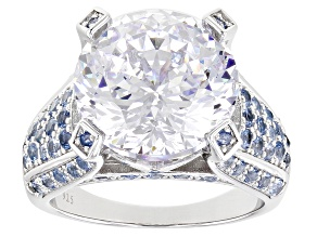 Pre-Owned White Cubic Zirconia and Blue Lab Created Spinel Rhodium Over Silver Ring