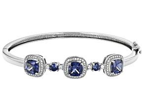 Pre-Owned Blue And White Cubic Zirconia Rhodium Over Sterling Silver Bracelet 8.25ctw