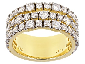 Pre-Owned White Cubic Zirconia 1k Yellow Gold Ring 3.70ctw