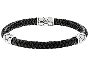 """Pre-Owned Leather & Silver """"Damascus"""" Bracelet"""