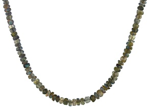 Pre-Owned Gray Labradorite Sterling Silver Bead Necklace