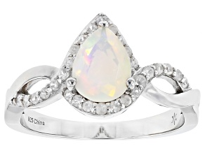 Pre-Owned Ethiopian Opal Rhodium Over Silver Ring 0.65ctw