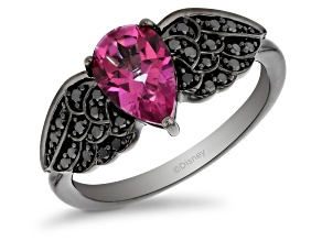 Pre-Owned Enchanted Disney Villains Maleficent Ring Black Diamond & Pink Topaz Black Rhodium Over Si
