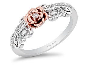 Pre-Owned Enchanted Disney Belle White Diamond Rhodium & 14k Rose Gold Over Silver 0.10ctw