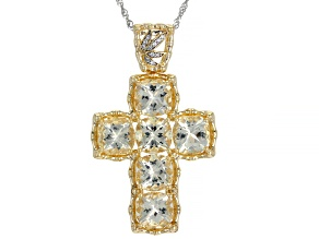 Pre-Owned Yellow Labradorite 18K Yellow Gold Over Silver Cross Pendant With Chain 10.76ctw