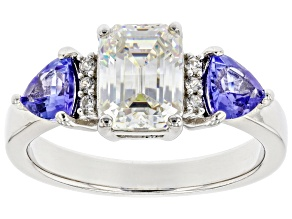 Pre-Owned Fabulite Strontium Titanate with tanzanite and zircon rhodium over sterling silver ring 2.