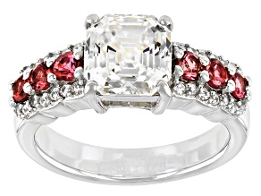 Pre-Owned Fabulite Strontium Titanate with pink tourmaline and white zircon rhodium over silver ring