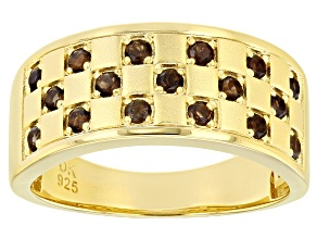 Pre-Owned Brown smoky quartz 18k yellow gold over silver ring .45ctw