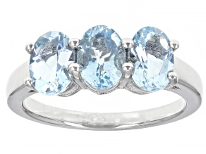 Pre-Owned Blue Aquamarine Rhodium Over Sterling Silver Ring 1.56ctw
