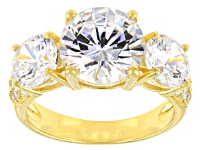 Pre-Owned White Cubic Zirconia 18K Yellow Gold Over Sterling Silver Ring 10.97ctw