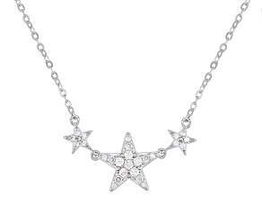 Pre-Owned White Cubic Zirconia Rhodium Over Sterling Silver Necklace 0.34ctw