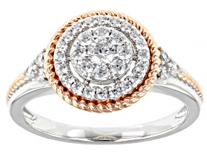 Pre-Owned White Cubic Zirconia Rhodium And 18K Rose Gold Over Sterling Silver Ring 0.93ctw