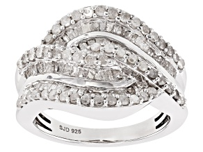 Pre-Owned White Diamond Rhodium Over Sterling Silver Ring 1.55ctw
