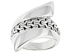 """Pre-Owned Sterling Silver """"He Breaks The Chains"""" Bypass Ring"""